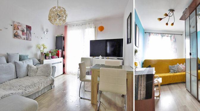 po lewej salon, po prawej kuchnia w luksusowym apartamencie do sprzedaży Poznań