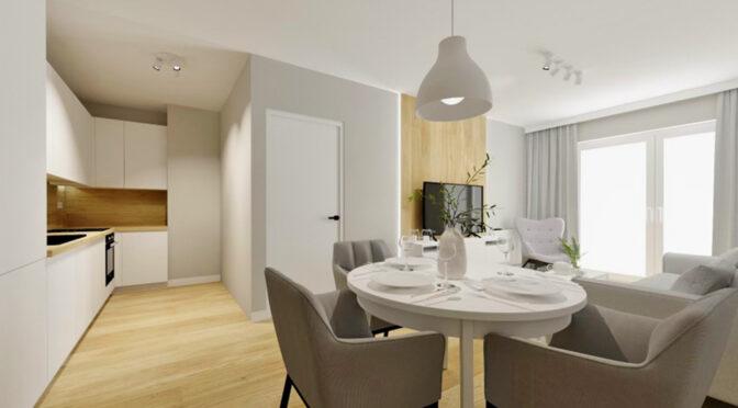 wizualizacja prezentuje nowoczesny salon w ekskluzywnym apartamencie do sprzedaży Szczecin