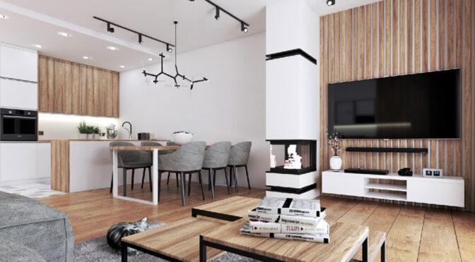 wizualizacja prezentuje przykładową aranżację wnętrza luksusowej rezydencji na sprzedaż Legnica (okolice)