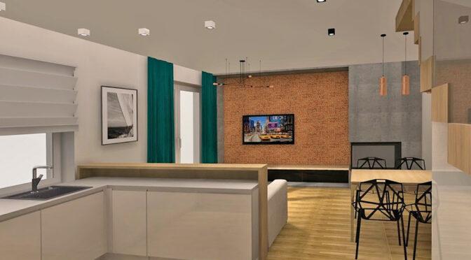 wizualizacja prezentuje przykładową, nowoczesną aranżację salonu w ekskluzywnej rezydencji na sprzedaż Szczecin