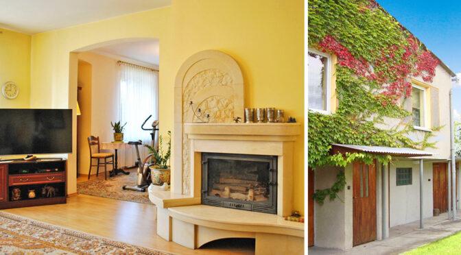 po lewej salon z kominkiem, po prawej stylowa elewacja luksusowej rezydencji do sprzedaży Piotrków Trybunalski (okolice)