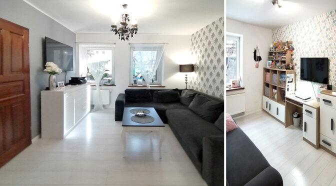 po lewej kuchnia, po prawej salon w ekskluzywnym apartamencie na sprzedaż Szczecin