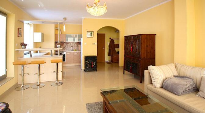 widok z salonu na aneks kuchenny w luksusowym apartamencie do wynajmu Szczecin