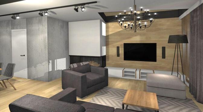 wizualizacja prezentuje stylowy pokój dzienny w ekskluzywnym apartamencie do sprzedaży Kwidzyn