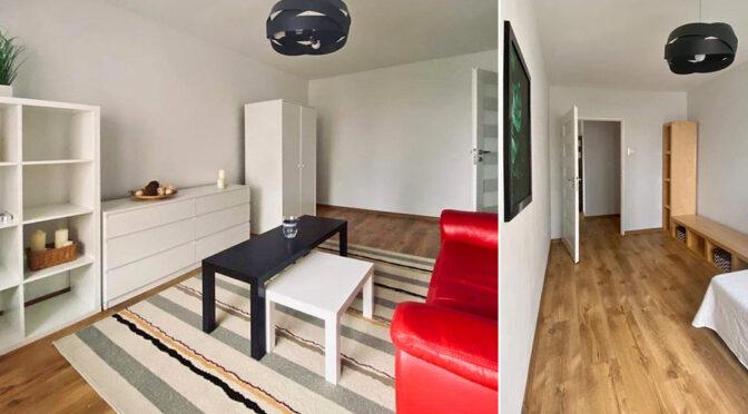 po lewej salon, po prawej hol w luksusowym apartamencie do sprzedaży Szczecin