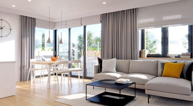 przepiękny pokój dzienny w ekskluzywnym apartamencie na sprzedaż Myszków