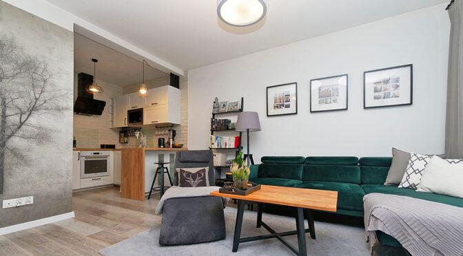 stylowy pokój dzienny w ekskluzywnym apartamencie na sprzedaż Tarnów