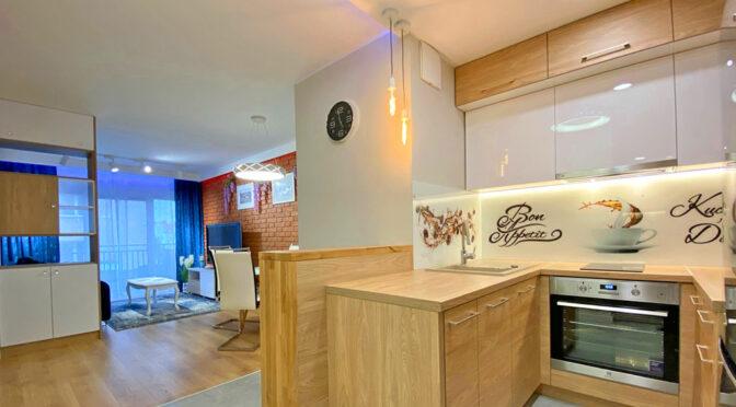 zaprojektowane w nowoczesnym stylu wnętrze ekskluzywnego apartamentu do wynajmu Szczecin