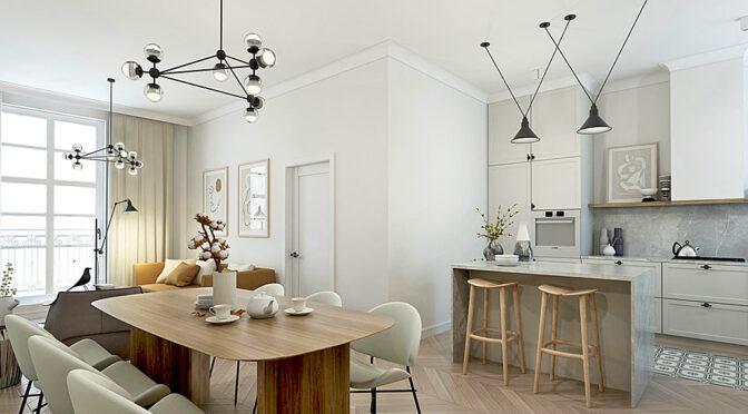 wizualizacja prezentuje nowoczesną aranżację salonu w ekskluzywnym apartamencie do sprzedaży Kalisz
