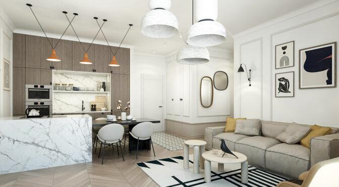 nowoczesna wizualizacja prezentująca wnętrze luksusowego apartamentu do sprzedaży Kalisz