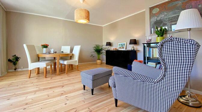 stylowy pokój dzienny w ekskluzywnym apartamencie do sprzedaży Szczecin