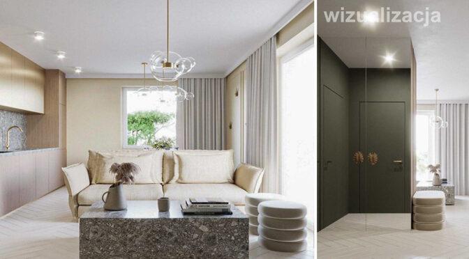 stylowe wnętrze salonu w ekskluzywnym apartamencie do sprzedaży Wałbrzych (okolice)