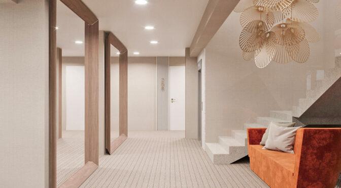 prestiżowy hol prowadzący do luksusowego apartamentu do sprzedaży nad morzem