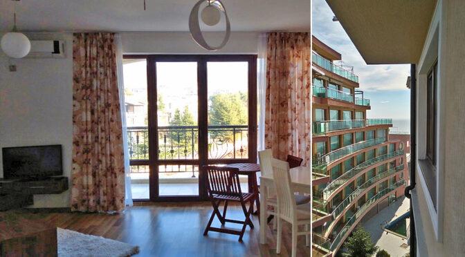 salon oraz widok z okien ekskluzywnego apartamentu na sprzedaż Bułgaria (Sveti Włas)
