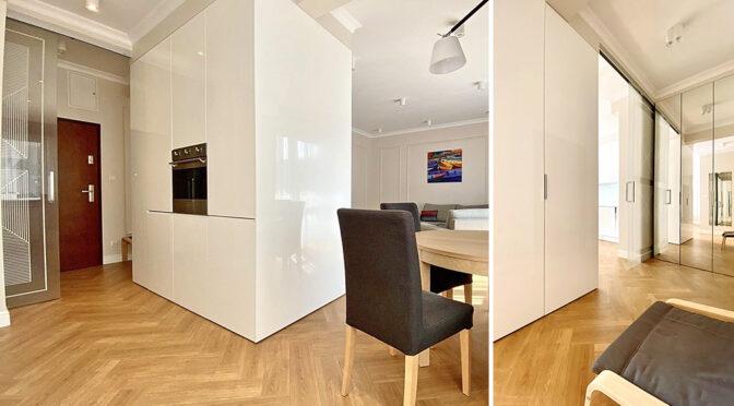 nowocześnie wykończony salon w ekskluzywnym apartamencie na wynajem Inowrocław