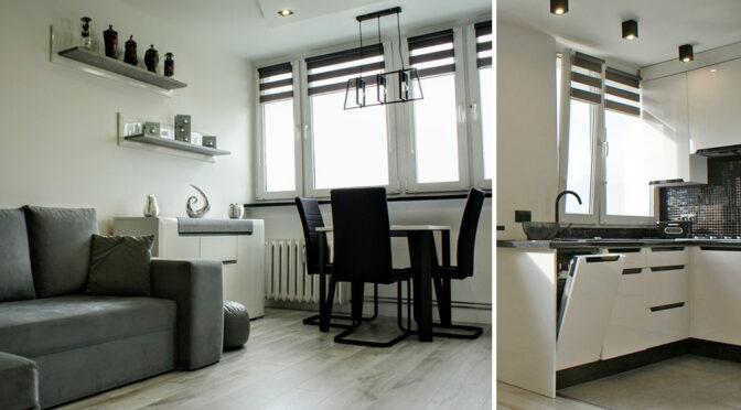 nowoczesny salon i kuchnia w ekskluzywnym apartamencie do sprzedaży Legnica (okolice)