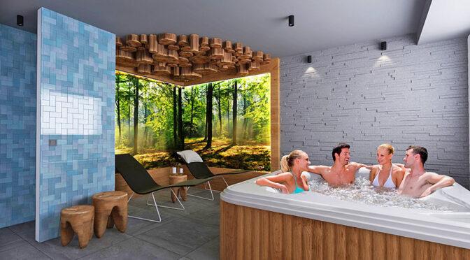 sauna i jacuzzi w częściac wspólnych, do których będą mieli dostęp lokatorzy oferowanego na sprzedaż luksusowego apartamentu do sprzedaży Szczyrk