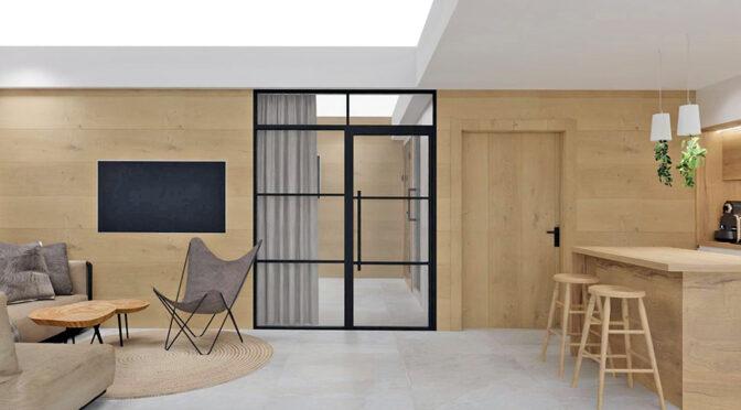 wizualizacja nowoczesnego salonu w ekskluzywnym apartamencie do sprzedaży Szczyrk