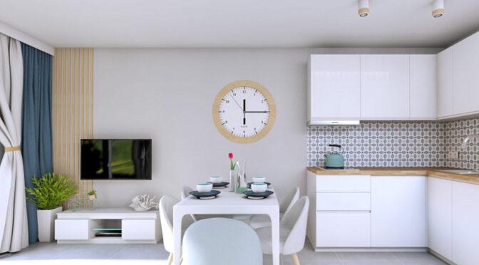 nowoczesny salon i aneks kuchenny w luksusowym apartamencie do sprzedaży nad morzem